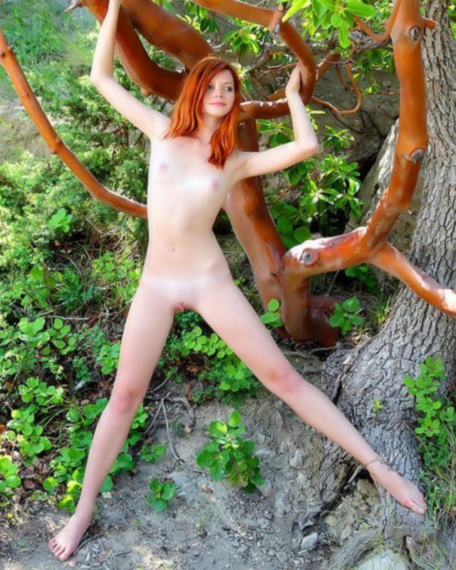 Рыжая девка с бритой киской на природе